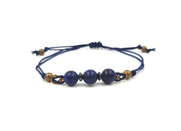 Bracelet cordon réglable et perles de Lapis Lazuli