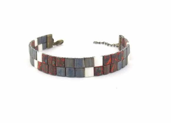 TYLA #6- bracelet souple perles tissées bleu grisé, nacre et rouge
