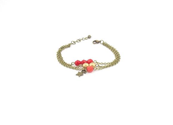 Estrella  - bracelet triple chaîne rouge et or