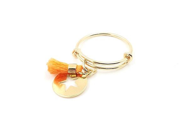 Bague jonc réglable - pendentif étoile et pompon orange