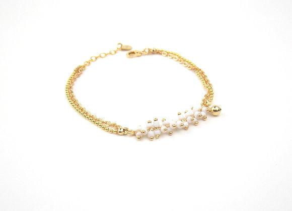 ZOE blanc  -  Bracelet gold filled et grappes de perles