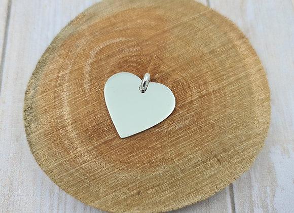 Pendentif coeur grand modèle avec gravure recto incluse