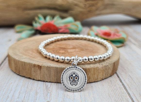 Bracelet argent - Perles 4mm - pendentif tête de mort ronde