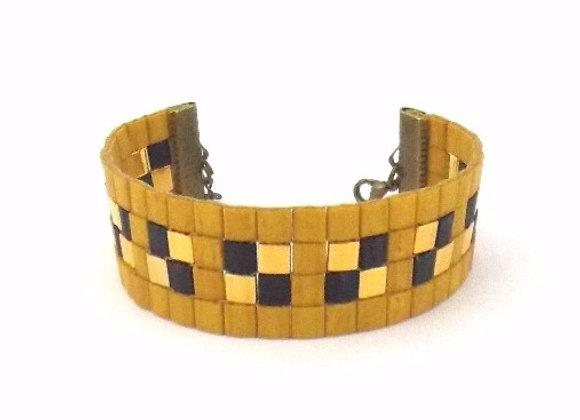 TYLA #1 - bracelet souple perles tissées moutarde noir et doré