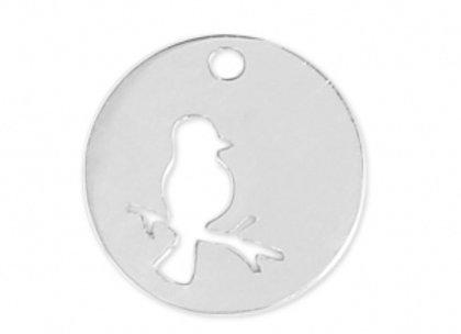 Bracelet cordon  - Pendentif oiseau sur une branche en argent 925