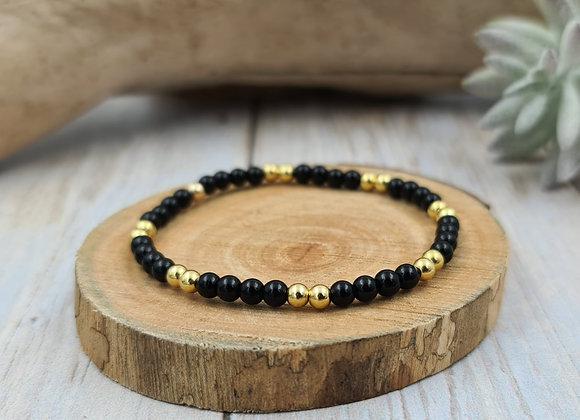 Bracelet onyx et gold filled