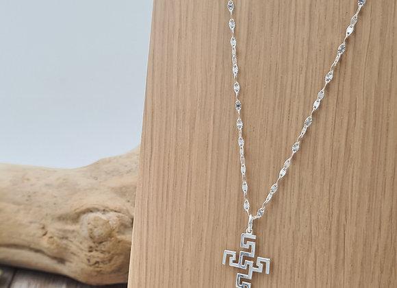 Collier pendentif croix dessinée- chaîne longueur au choix