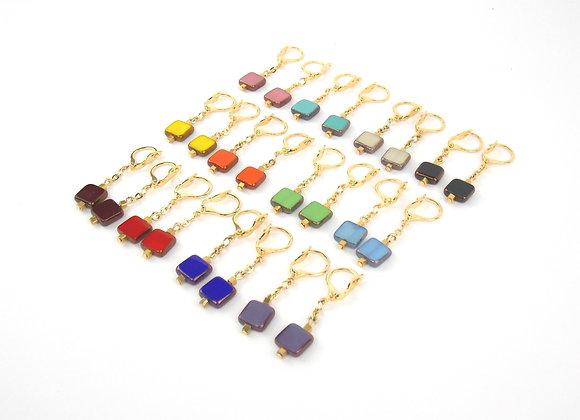 GIULIA . Boucles d'oreilles gold filled et perles en verre de bohème