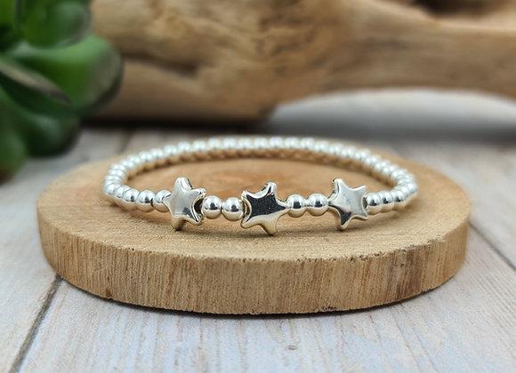 Bracelet argent - Perles 4mm - trio d'étoiles
