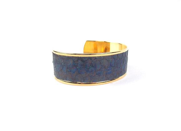 BAÏNES Cuir de Bar bleu aux reflets bronze (23 mm)