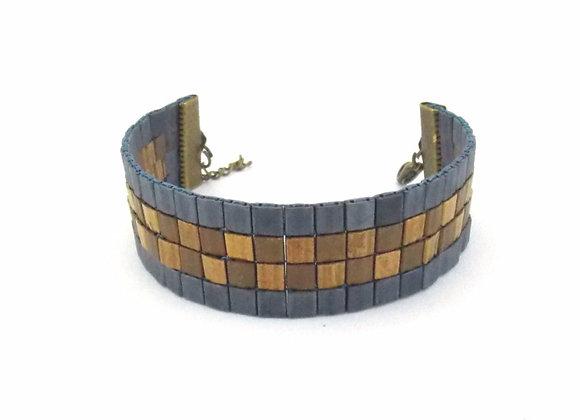 TYLA #4 - bracelet souple perles tissées bleu grisé et bronze