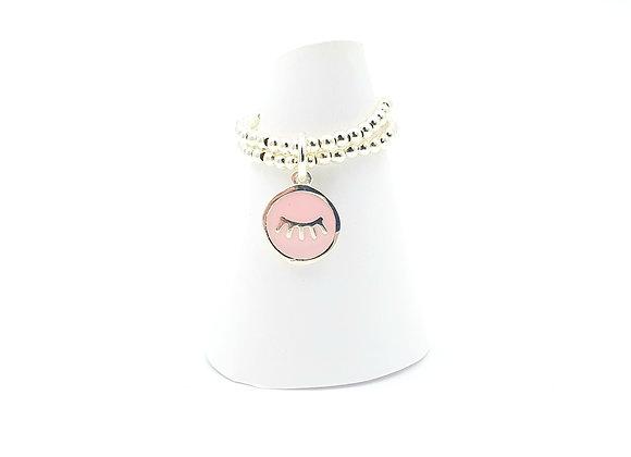 Bague argent 925 double rang et pendentif émail rose motif cils