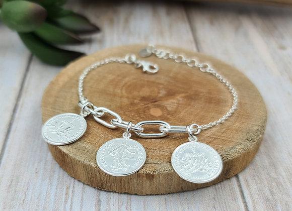 Bracelet argent -  3 pièces de 1 franc