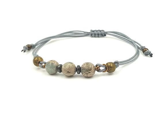 Bracelet cordon réglable et perles de Jaspe Aqua