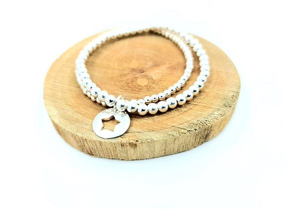 Bracelet argent -double rang perles 3 et 4mm - pendentif au choix