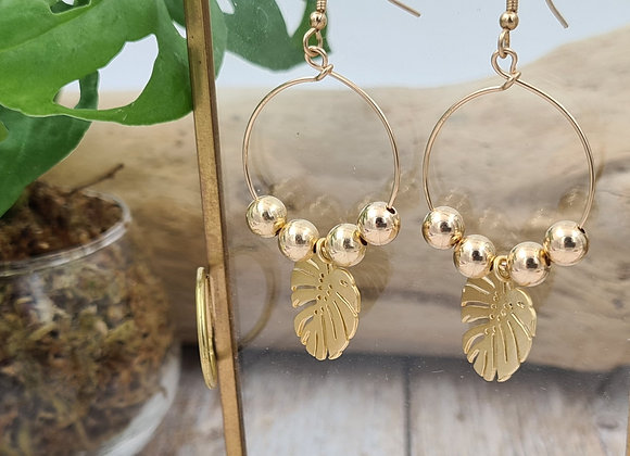Boucles créoles gold-filled - pendentif feuille monstera