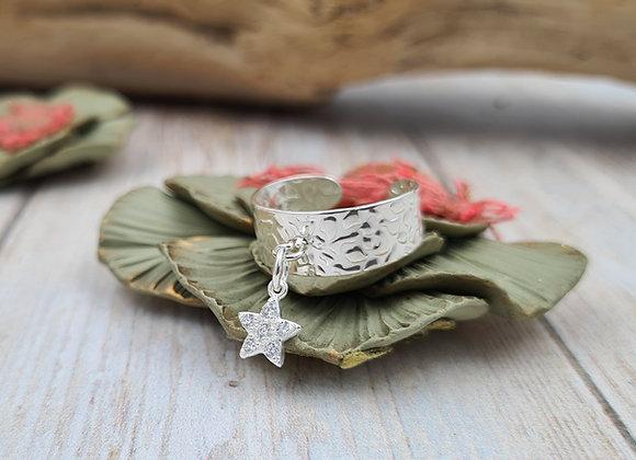 Bague argent 925 réglable - pendentif étoile zircon cristal