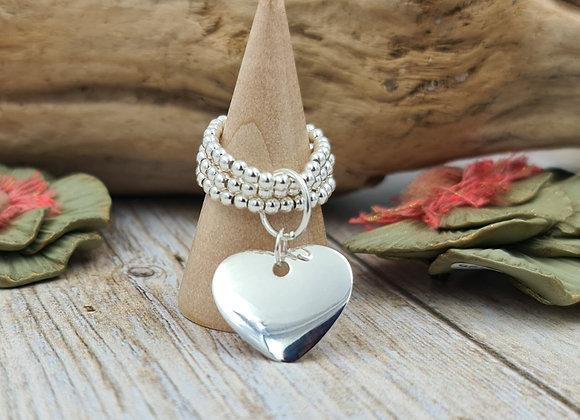 Bague argent 925 triple rang de perles 2,5mm- pendentif coeur bombé