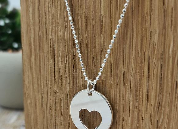 collier court en argent 925 - pendentif coeur