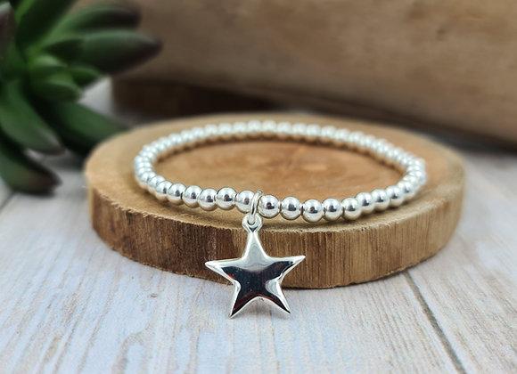 Bracelet argent - Perles 4mm - pendentif étoile bombée