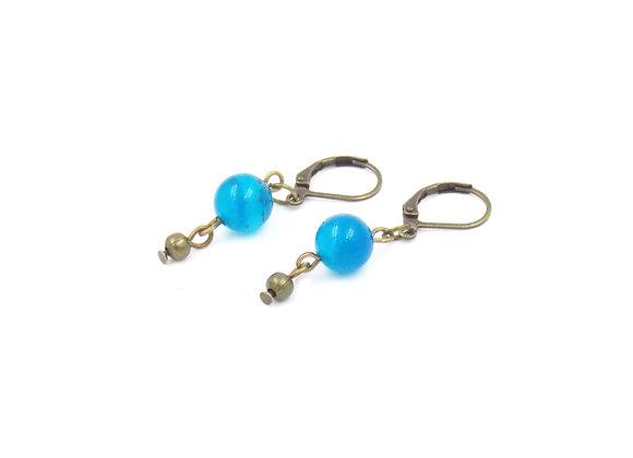 """NINE - Boucles d'oreilles laiton et Agate """"Blue Lace"""""""