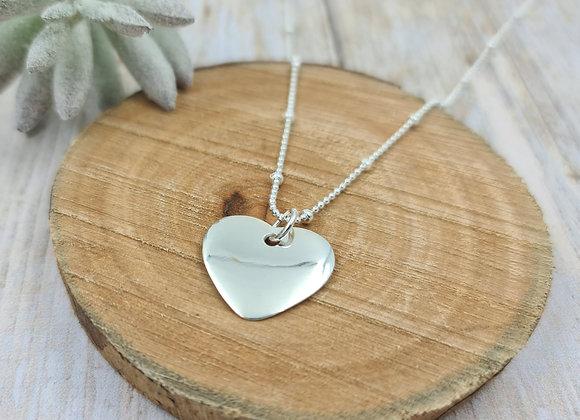 Collier court argent 925 - Chaîne perlée - pendentif coeur bombé