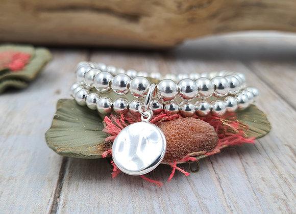 Bracelet argent -double rang perles 5 et 6mm - pendentif au choix