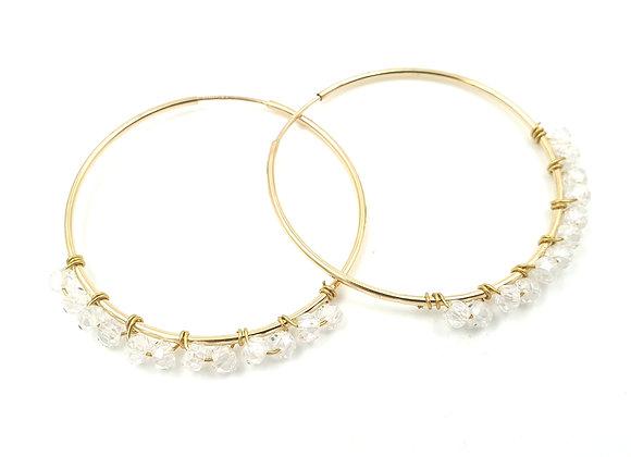 Créoles gold filled - rondelles de Topaze blanche facettées