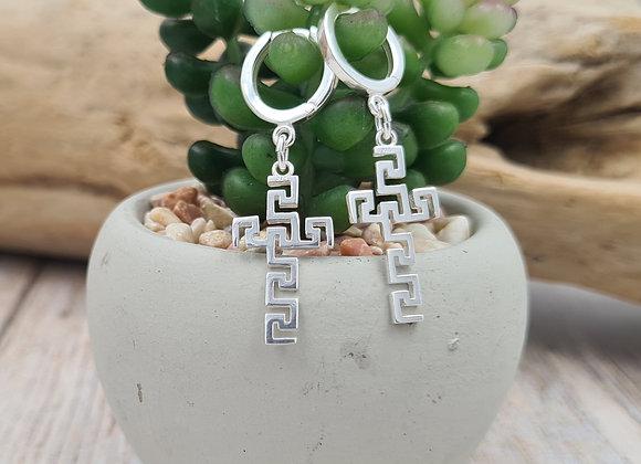 Boucles pendentif croix géométrique ajourée argent 925