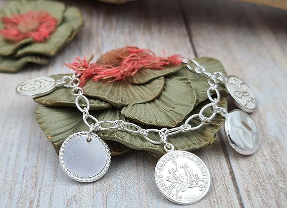 Bracelet argent -  5 pendentifs