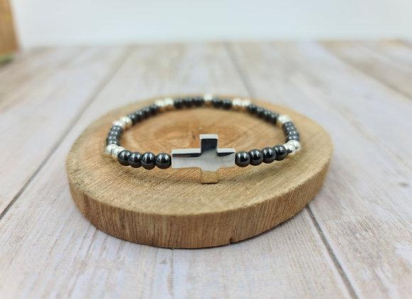 Bracelet hématite et argent -Perles 4mm - croix