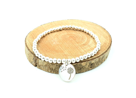 Bracelet argent - Perles 4mm - pendentif fleur de pissenlit