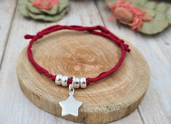 Collection Mademoiselle SVP - bracelet cordon de soie - étoile