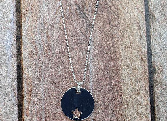 collier court en argent 925 - pendentif rond étoile ajourée