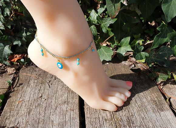 Chaîne de cheville double gold filled turquoise pour de jolis pieds cet