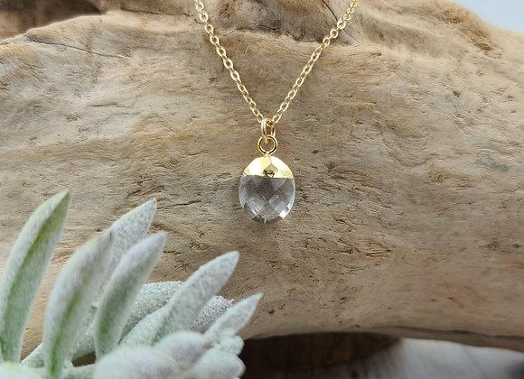 Collier court gold-filled - pierre fine de Cristal