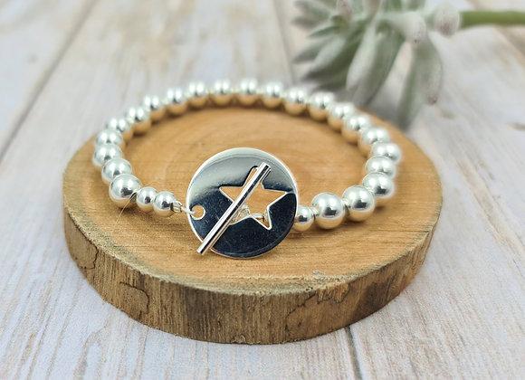 Bracelet argent 925 - perles 7mm - fermoir T étoile