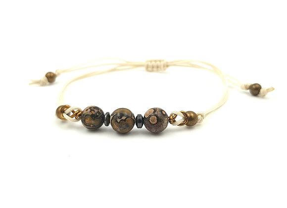 Bracelet cordon réglable et perles de Jaspe Léopard