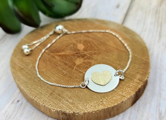 Bracelet chaîne fine argent 925 - cordon coulissant - intercalaire Coeur