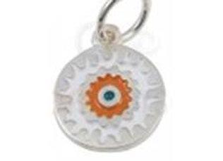 Bracelet cordon  - Pendentif mandala orange émaillé et argent 925