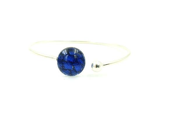 Bracelet jonc flexible argent 925 et cuir de saumon bleu roi
