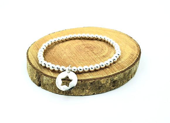 Bracelet argent - Perles 4mm - pendentif motif étoile