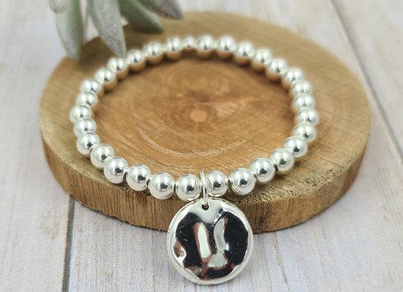 Bracelet argent 925 - perles 6mm pendentif médaille martelée