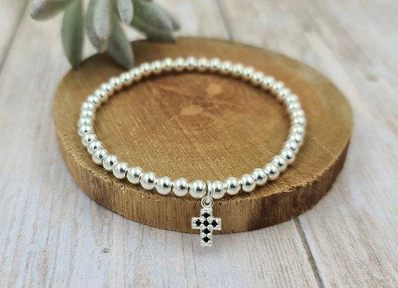 Bracelet argent 925 et pendentif croix zircon noir
