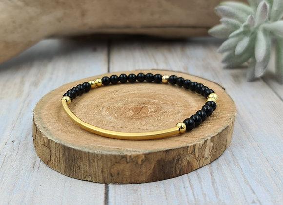 Bracelet onyx et jonc gold filled