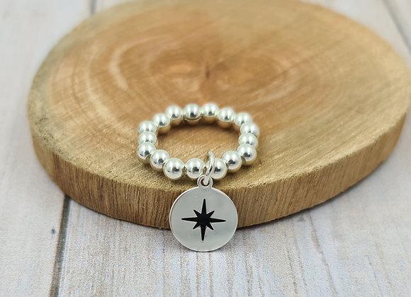 Bague argent 925 - pendentif étoile polaire noire