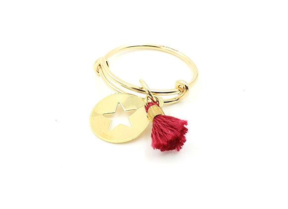 Bague jonc réglable - pendentif étoile et pompon bordeaux