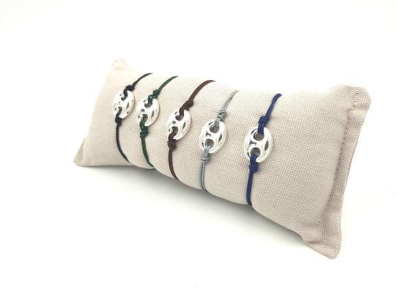 Bracelet cordon réglable et intercalaire grain de café en argent 925