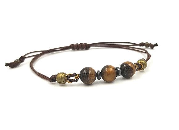 Bracelet cordon réglable et perles d'Oeil de Tigre