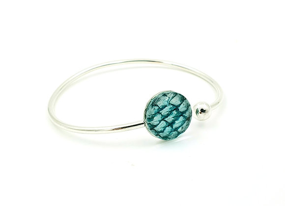 Bracelet jonc flexible argent 925 et cuir de saumon turquoise